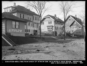 Distribution Department, break, condition resulting from break in 48-inch main, corner of Clinton and Dean Roads (compare with No. 6956) (lawns rear of houses on Clinton Road), Brookline, Mass., Dec. 4, 1913