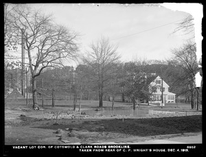 Distribution Department, break, vacant lot, corner of Cotswold and Clark Roads, taken from rear of C. P. Wright's house, Brookline, Mass., Dec. 4, 1913