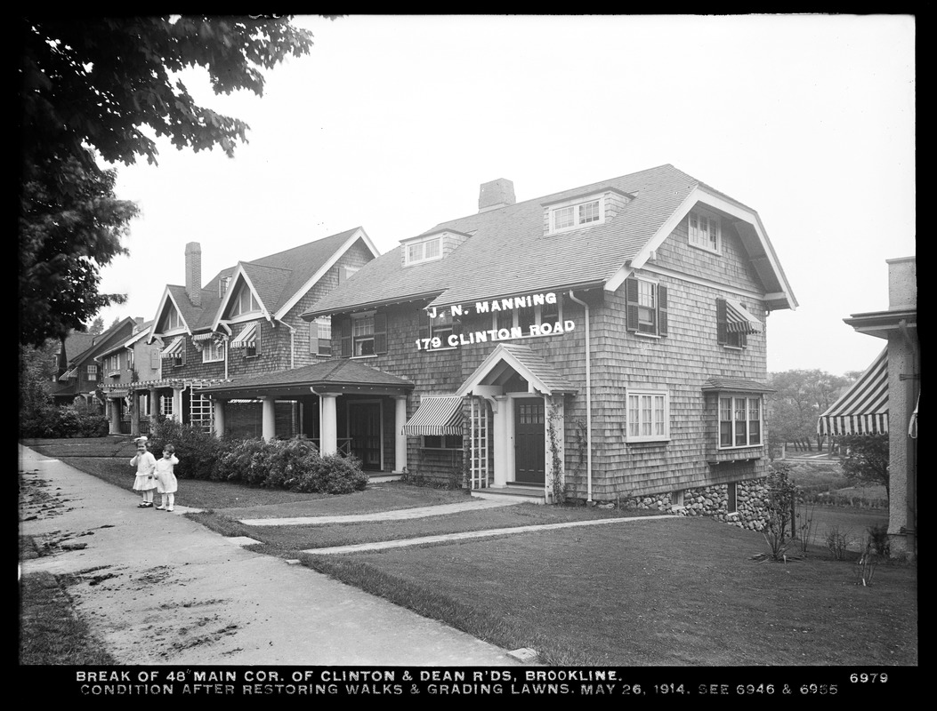 Distribution Department, break, break in 48-inch main, corner of Clinton and Dean Roads, condition after restoring walks and grading lawns (compare with Nos. 6946 and 6955), Brookline, Mass., May 26, 1914