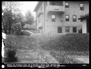 Distribution Department, break, break in 48-inch main, corner of Clinton and Dean Roads, condition after restoring embankment (compare with No. 6950), Brookline, Mass., May 26, 1914