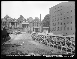 Distribution Department, Low Service Pipe Lines, Chelsea Creek Tunnel, 36-inch water pipe and air compressor plant, Marginal Street, Chelsea, Mass., Jun. 18, 1914