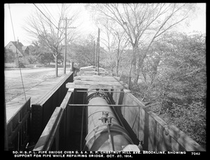 Distribution Department, Southern High Service Pipe Lines, pipe bridge over Boston & Albany Railroad, Chestnut Hill Avenue, showing support for pipe while repairing bridge, Brookline, Mass., Oct. 20, 1914