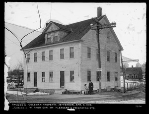 Wachusett Department, Wachusett Reservoir, Thomas M. Coleman's property, looking northwesterly from corner of Mt. Pleasant and Princeton Streets, Jefferson, Mass., Apr. 5, 1915