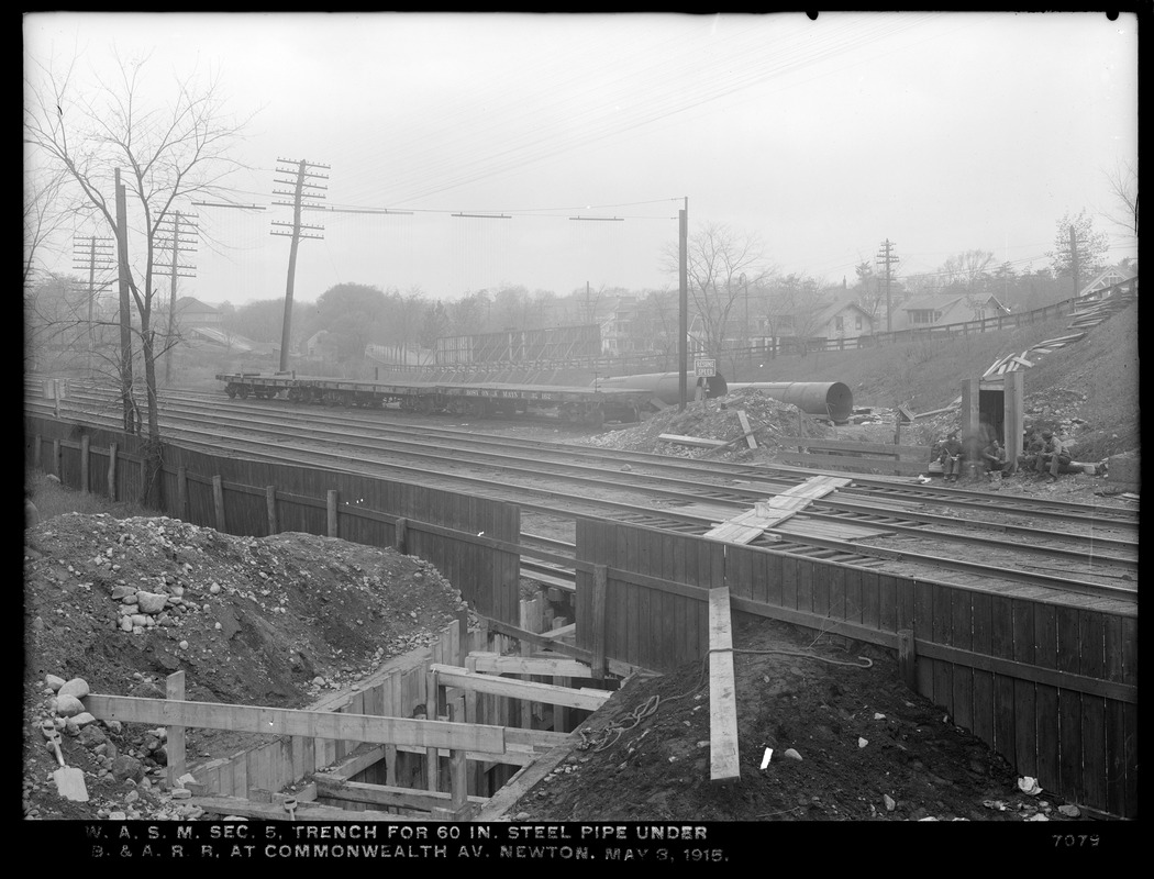 Distribution Department, Weston Aqueduct Supply Mains, Section 5, trench for 60-inch steel pipe under Boston & Albany Railroad at Commonwealth Avenue, Newton, Mass., May 3, 1915