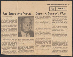 Herbert Brutus Ehrmann Papers, 1906-1970. Sacco-Vanzetti. Negative reviews, 1969. Box 8, Folder 10, Harvard Law School Library, Historical & Special Collections