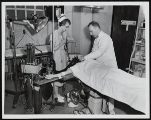 Administering oxygen during Faulkner Hospital operation
