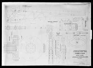 Engineering Plans, Wachusett Dam, main flume, apparatus for raising gates, Clinton, Mass., Dec. 2, 1897