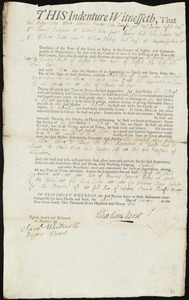 Document of indenture: Servant: Bell, Christopher Jr. Master: Morse, Eliakim. Town of Master: Boston