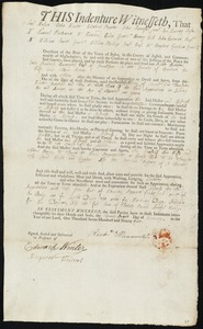 Document of indenture: Servant: Spencer, Noble. Master: Hunnewell, Richard Jr. Town of Master: Penobscot