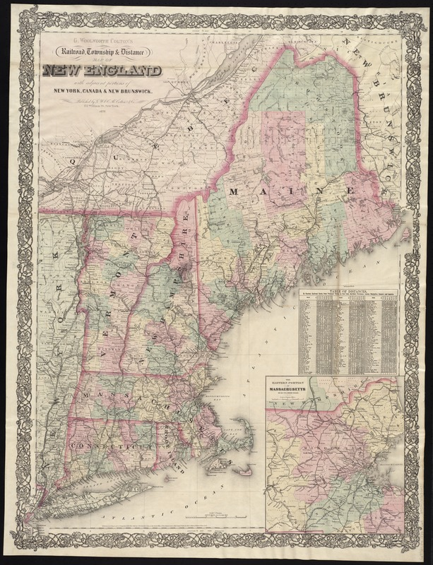 G. Woolworth Colton's railroad, township & distance map of New England