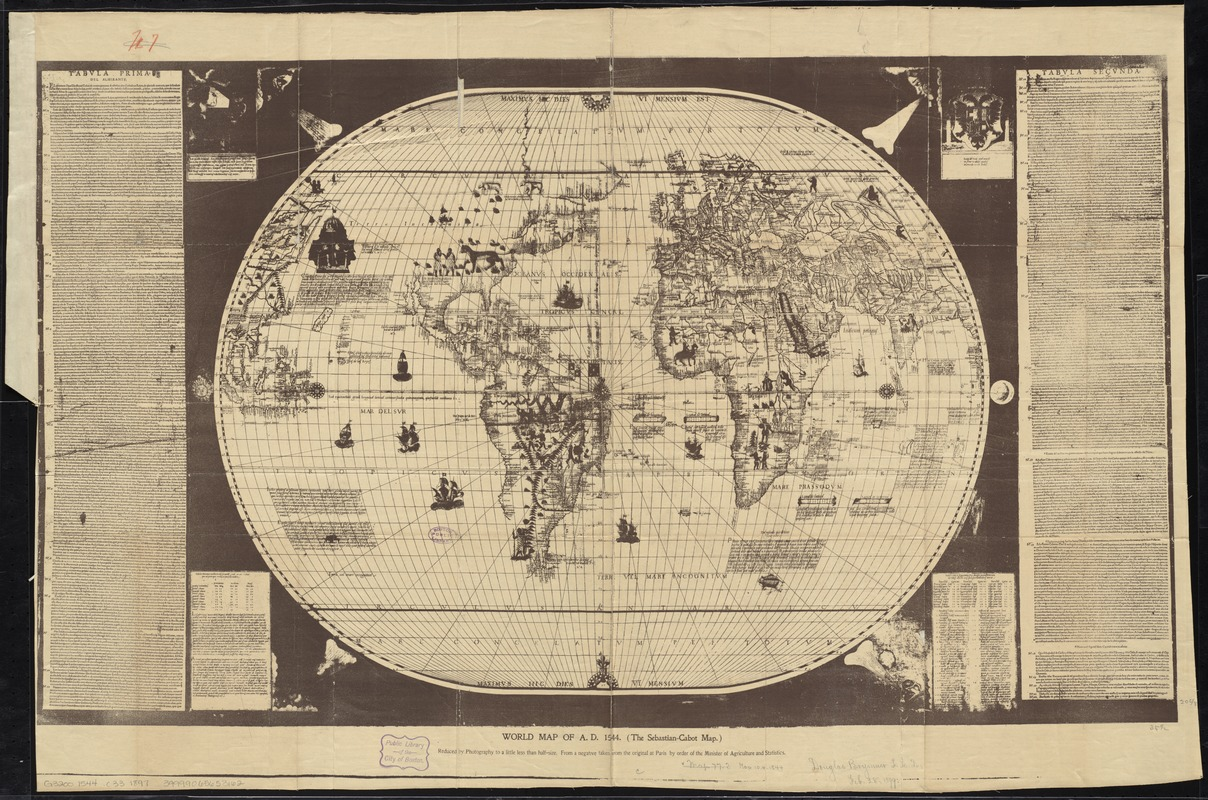 World map of ad 1544 the sebastian cabot map digital commonwealth world map of ad 1544 the sebastian cabot map gumiabroncs Image collections