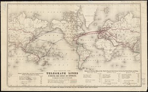Map showing the telegraph lines in operation, under contract, and contemplated, to complete the circuit of the globe