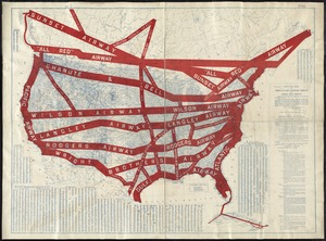Official map of American and Canadian airways and aerial mail routes