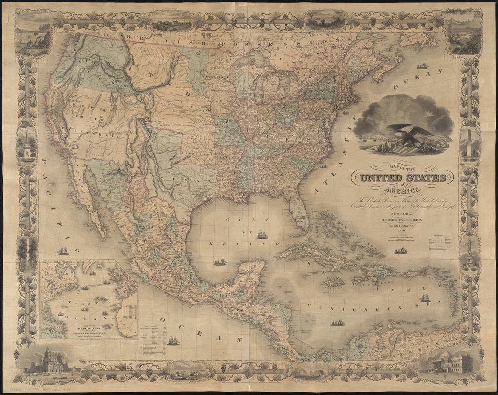 Map of the United States of America, the British provinces, Mexico, the West Indies and Central America, with part of New Granada and Venezuela