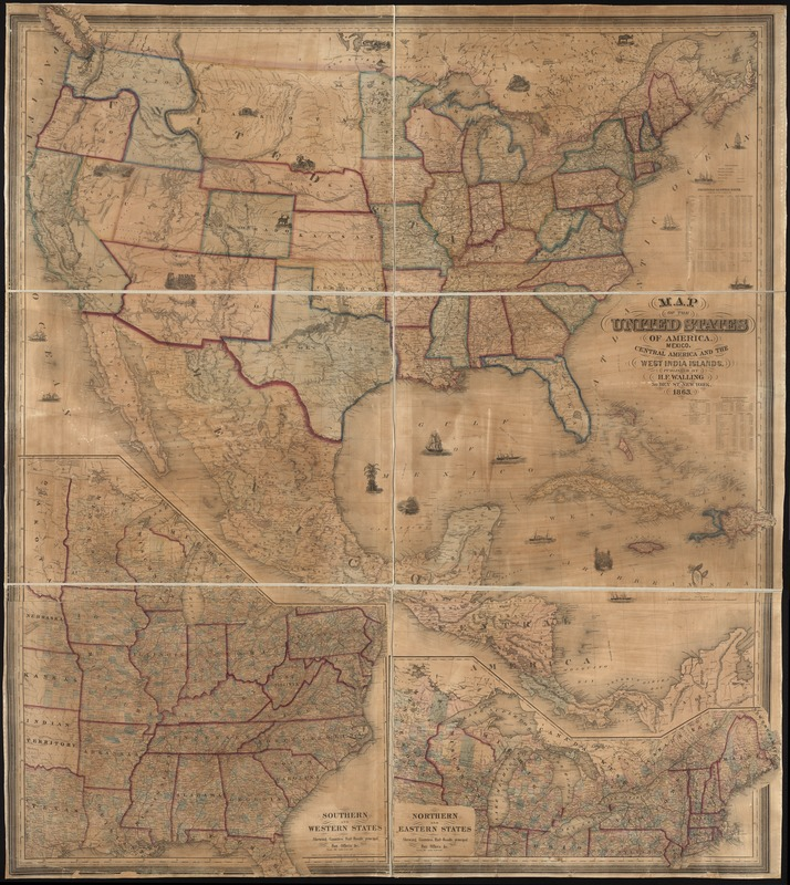 Map of the United States of America, Mexico, Central America, and the West India Islands