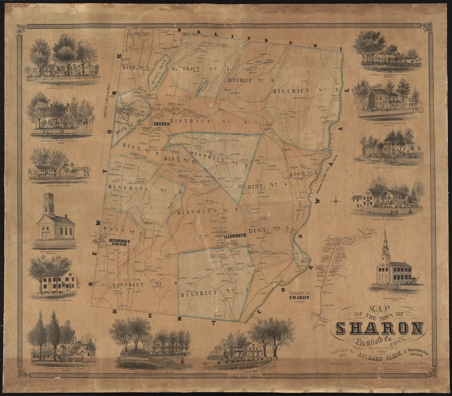 Map of the town of Sharon, Litchfield County, Connecticut - Digital ...