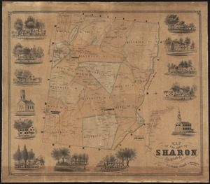 Map of the town of Sharon, Litchfield County, Connecticut