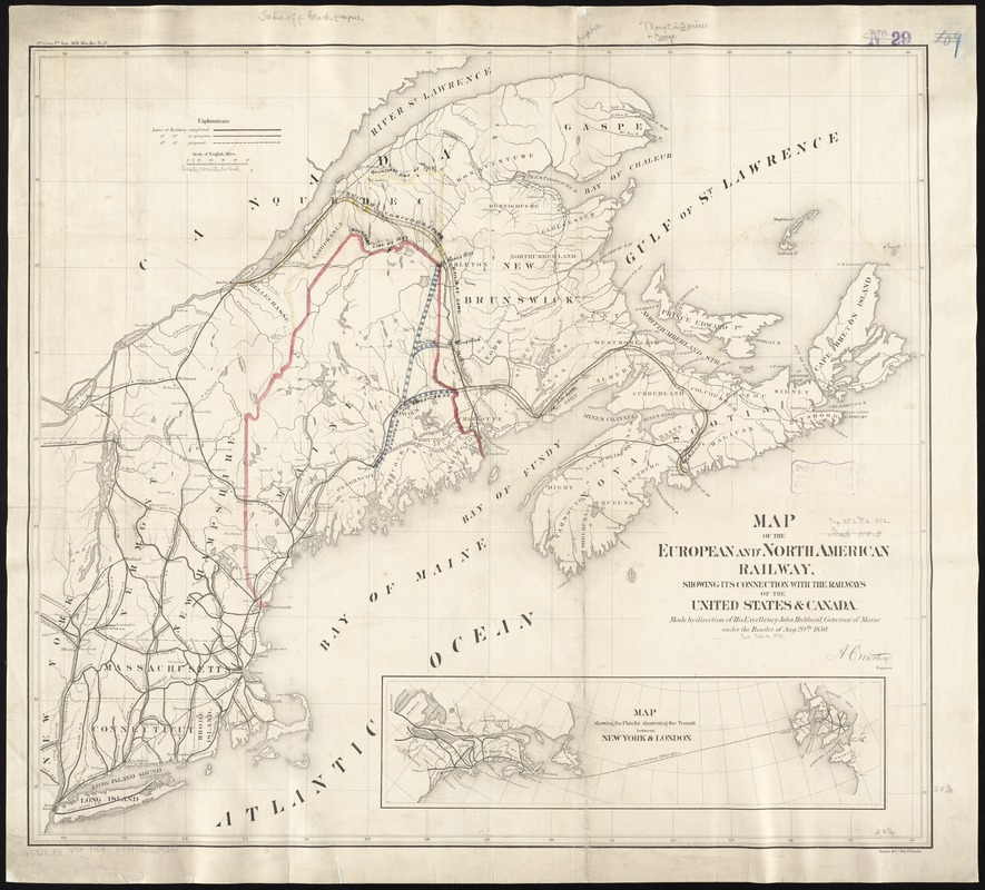 Map of the European and North American Railway, showing its connection with the railways of the United States & Canada; made by direction of His Excellency John Hubbard, Governor of Maine under the resolve of Aug. 20th 1850