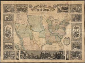 Pictorial map of the United States, 1849
