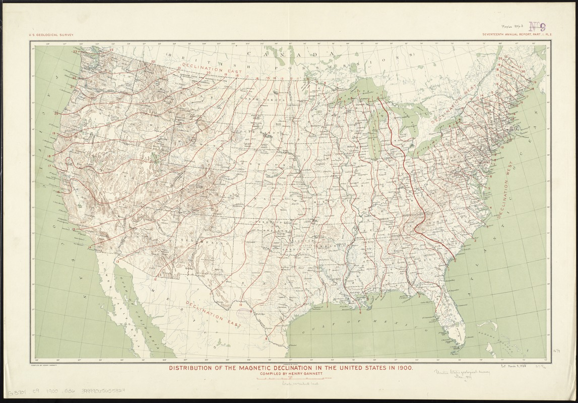 Distribution of the magnetic declination in the United States in 1900