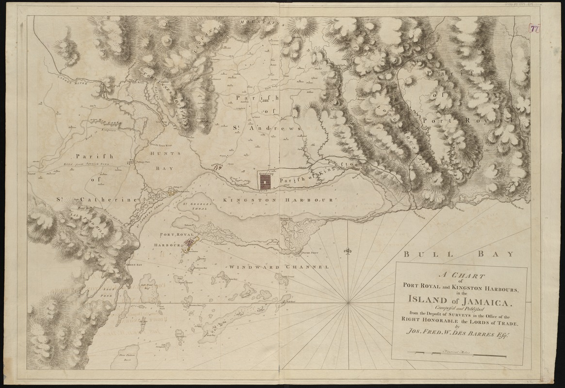 A chart of Port Royal and Kingston Harbours, in the island of Jamaica