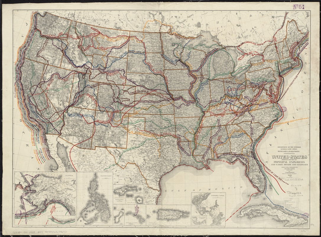 United States showing routes of principal explorers and early roads and highways