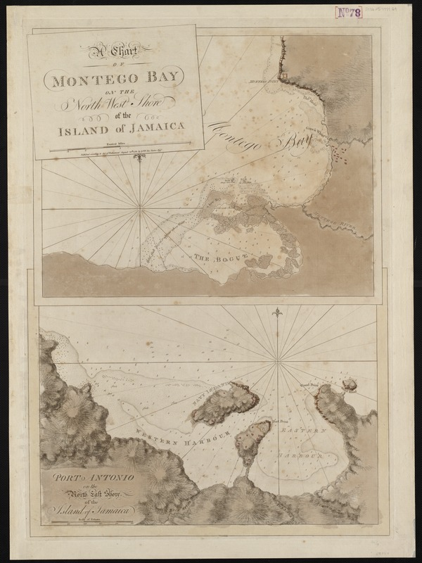 A chart of Montego Bay on the north west shore of the island of Jamaica
