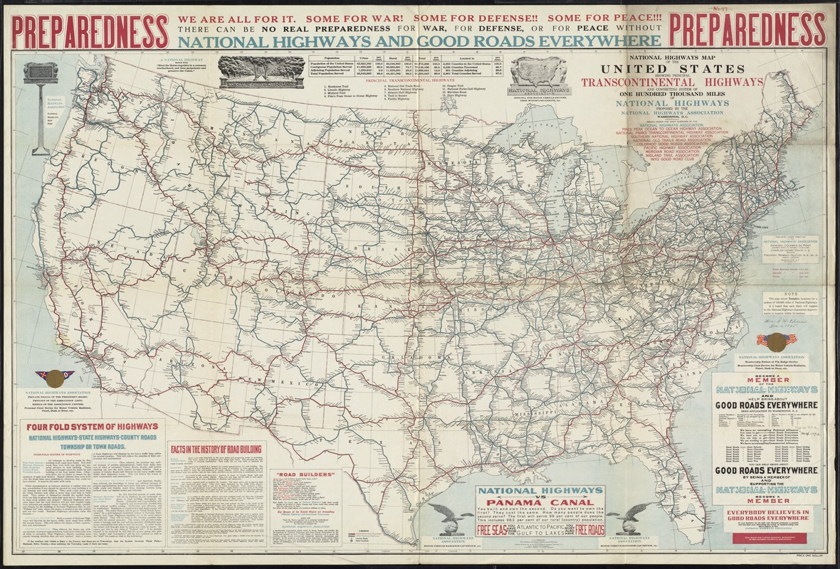 National highways map of the United States showing principal transcontinental highways and connecting system of one hundred thousand miles of national highways proposed by the National Highways Association