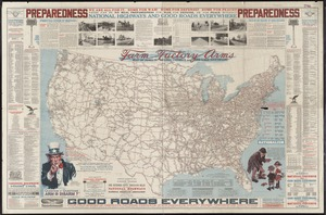 National highways map of the United States showing one hundred fifty thousand miles of national highways proposed by the National Highways Association