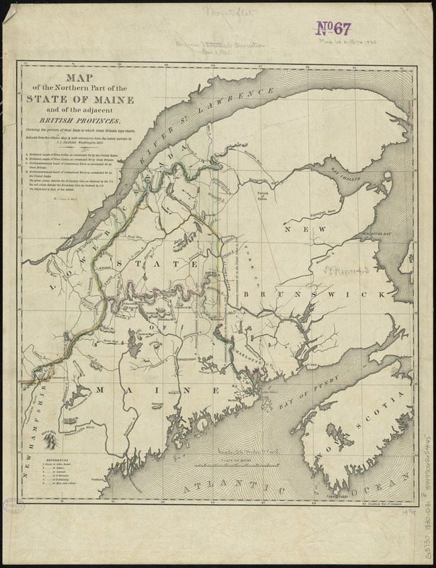 Map of the northern part of the state of Maine and of the adjacent British provinces