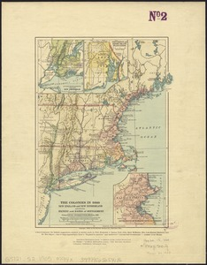 The colonies in 1660, New England and New Netherland showing extent and dates of settlement