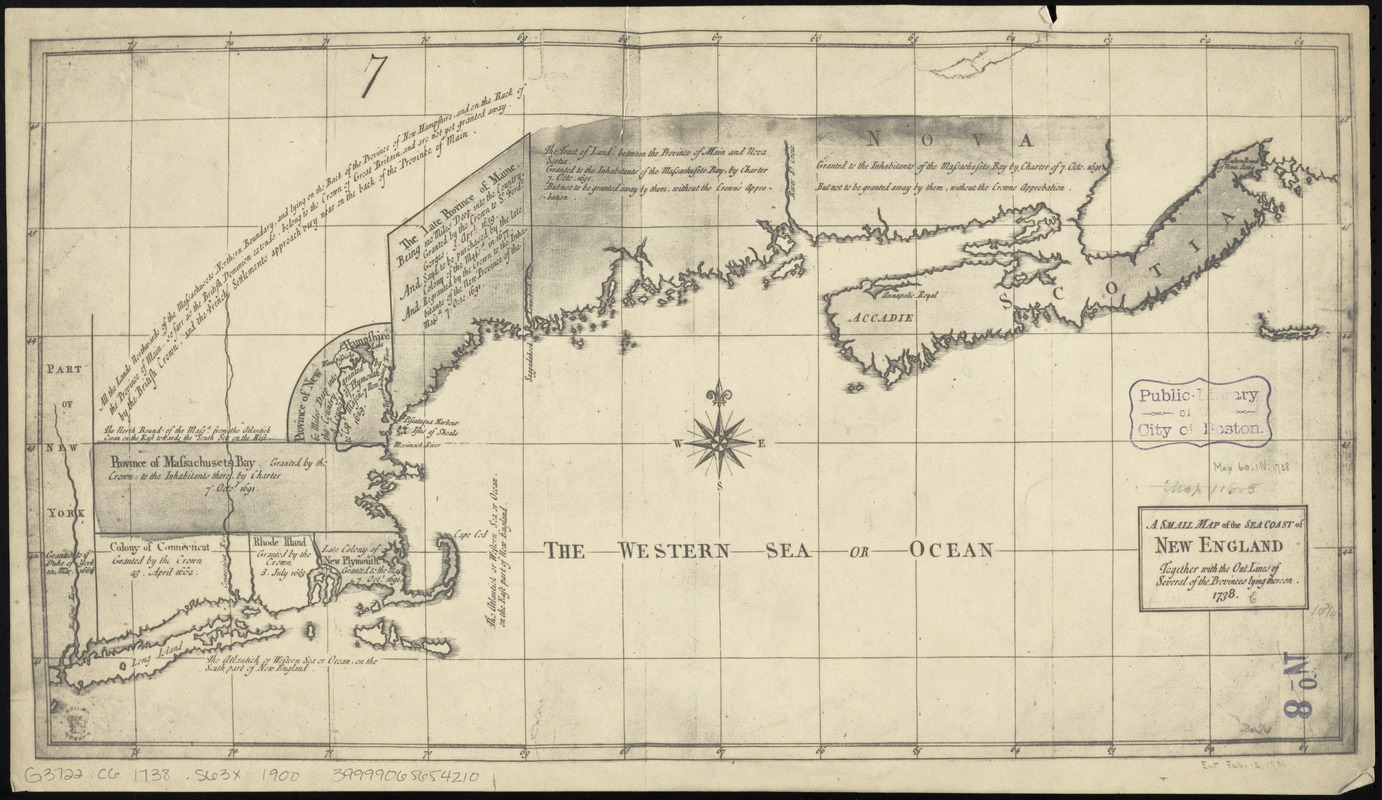 A small map of the sea coast of New England together with the outlines of several of the provinces lying thereon, 1738
