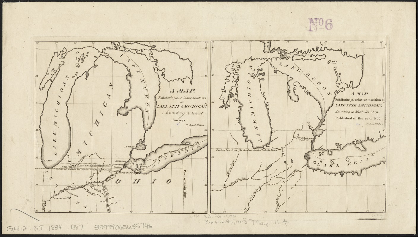 Map, boundary, Michigan and Ohio
