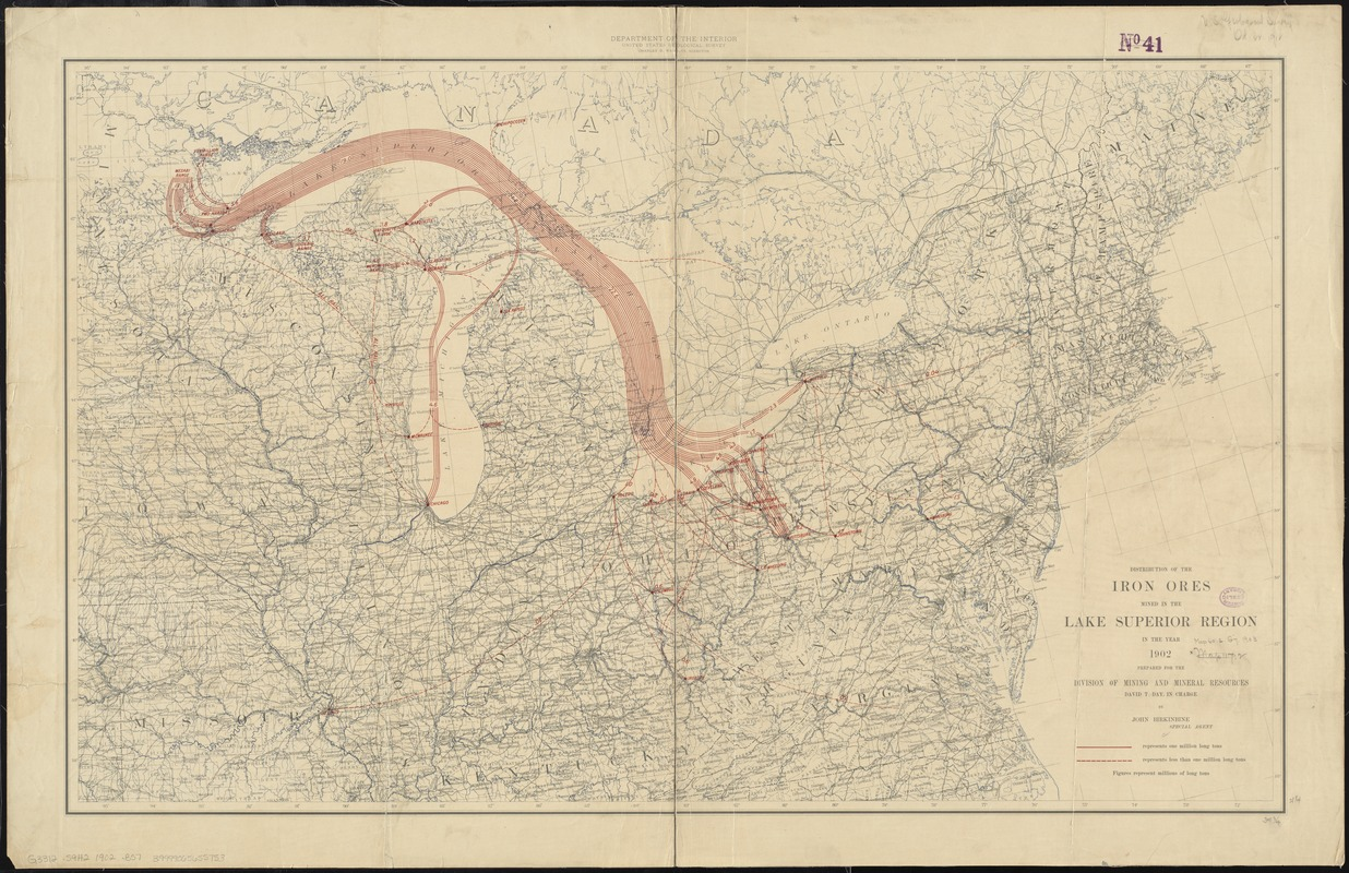 Distribution of the iron ores mined in the Lake Superior Region in year 1902