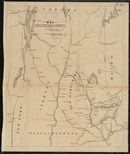 Map showing the relative distances of Porsmouth [i.e. Portsmouth] and Boston from Concord & Manchester, N.H