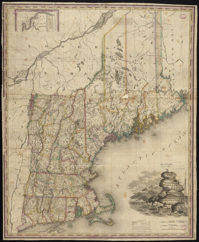 Map of the states of Maine, New Hampshire, Vermont, Massachusetts, Connecticut & Rhode Island