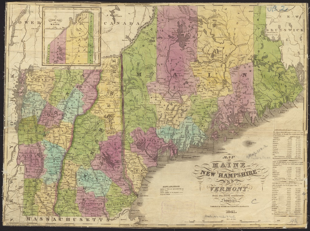 Map of Maine, New Hampshire and Vermont, from the most authentic ...