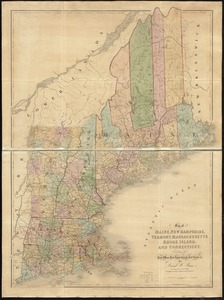 Map of Maine, New Hampshire, Vermont, Massachusetts, Rhode Island, and Connecticut