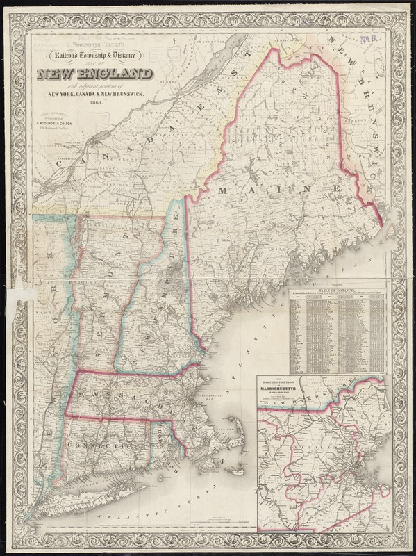 G. Woolworth Colton\'s railroad, township & distance map of New ...