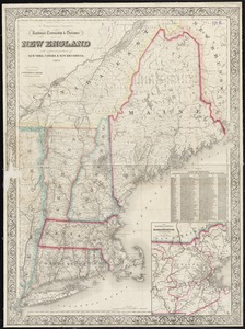 G. Woolworth Colton's railroad, township & distance map of New England with adjacent portions of New York, Canada & New Brunswick