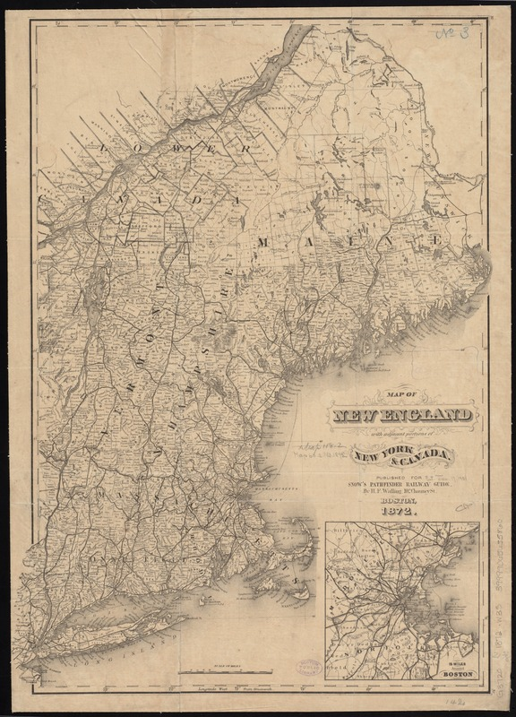 Map of New England with adjacent portions of New York & Canada ...