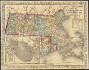 Map of Massachusetts and Rhode Island