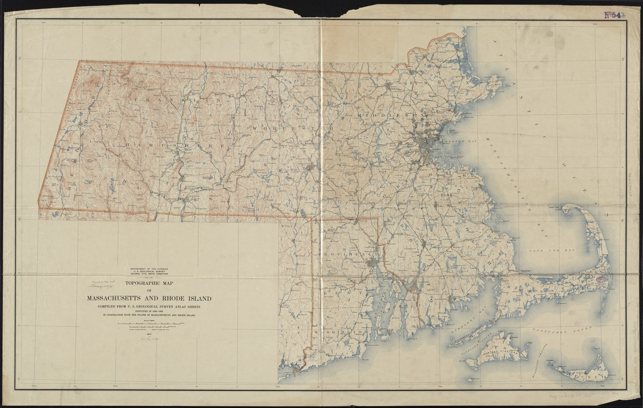 Topographic map of Massachusetts and Rhode Island