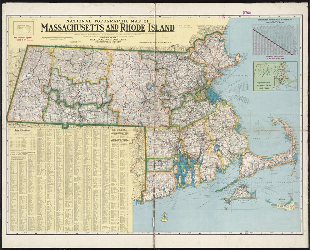 National topographic map of Massachusetts and Rhode Island