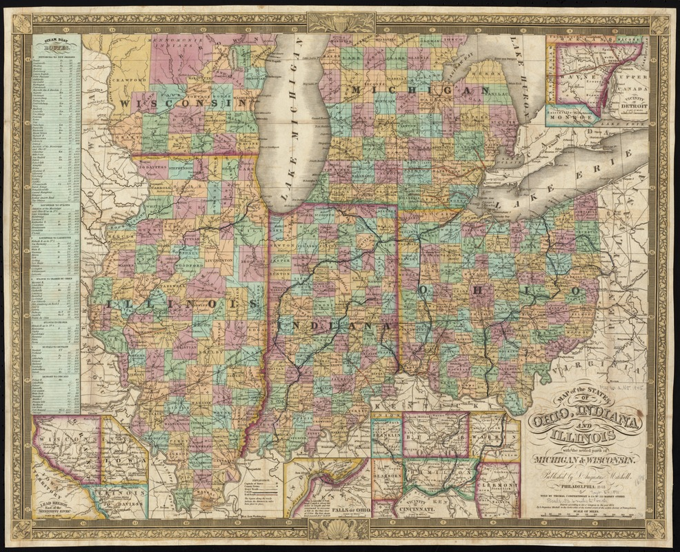 Map of the states of Ohio, Indiana and Illinois with the settled ...