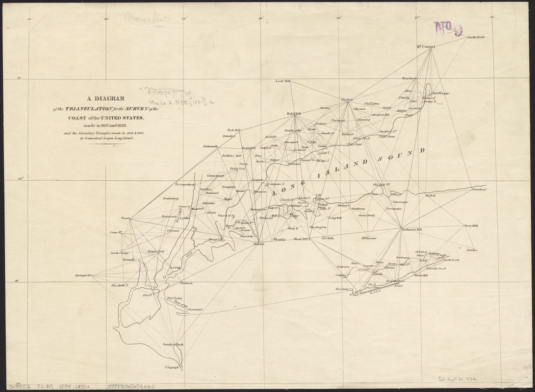 A diagram of the triangulation for the survey of the coast of the United States, made in 1817 and 1833, and the secondary triangles made in 1833 & 1834 in Connecticut & upon Long Island