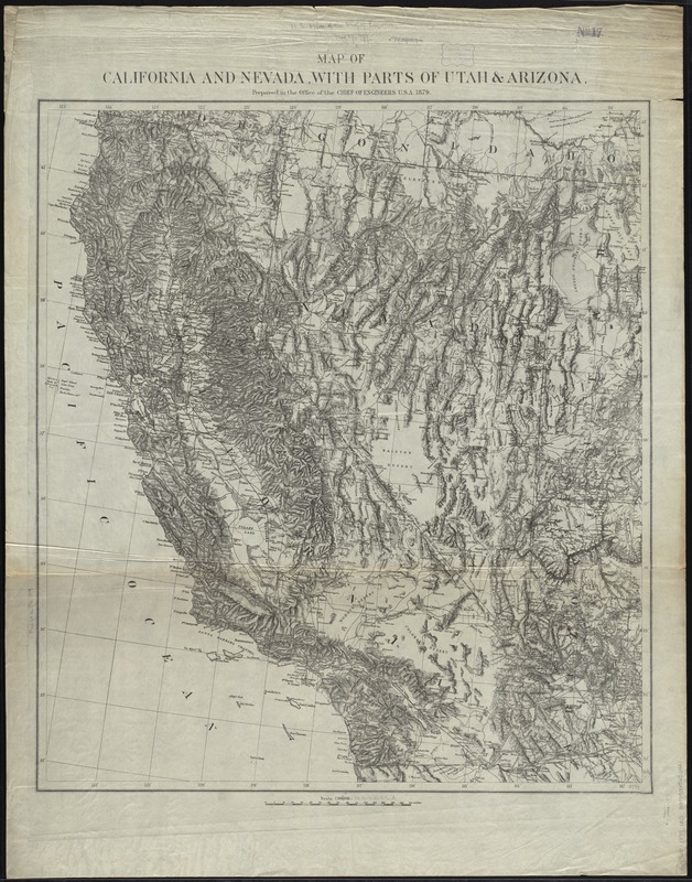 Map of California and Nevada, with parts of Utah & Arizona