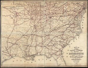 Map showing cotton growing region of the United States and means of transportation by water and rail
