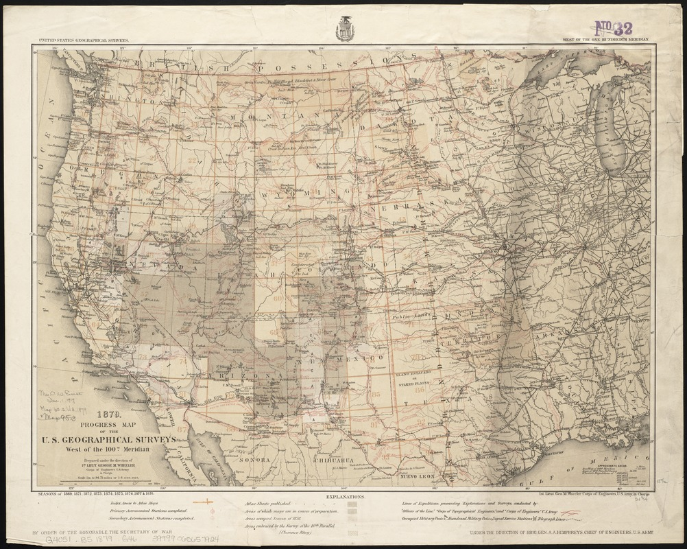 1879 Progress map of the US Geographical Surveys west of the