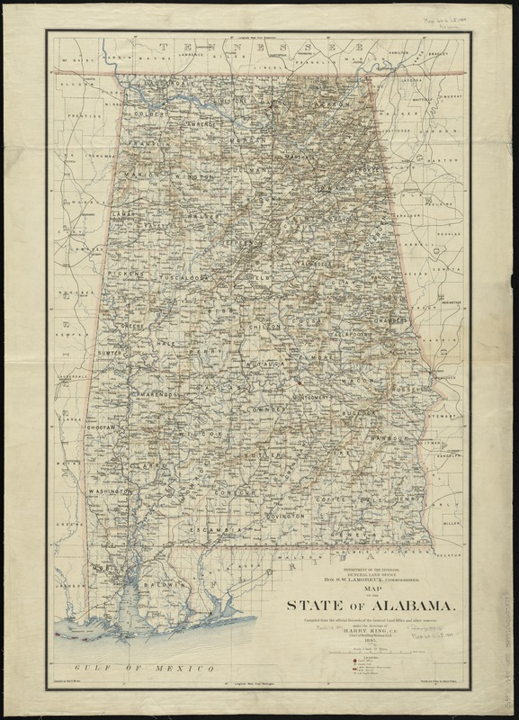 Map of the state of Alabama